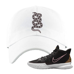 Kyrie 7 Ripple Black Dad Hat | Coiled Snake, White