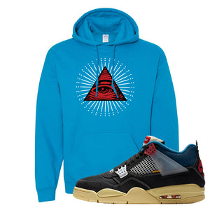 Union LA x Air Jordan 4 Off Noir Hoodie | All Seeing Eye, Heather Sapphire