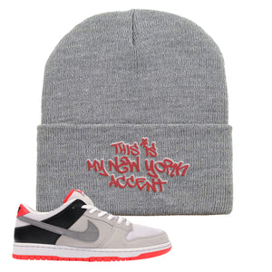 Nike SB Dunk Low Infrared Orange Label This Is My New York Accent Light Gray Beanie To Match Sneakers