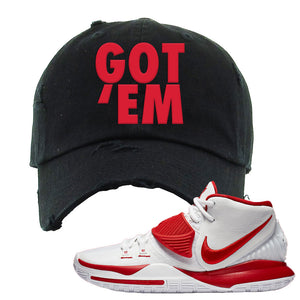 Kyrie 6 White University Red Distressed Dad Hat | Got Em, Black