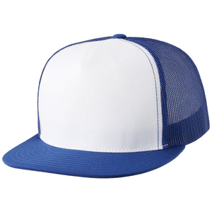 the white on blue trucker snapback hat has a white crown, blue flat brim and blue mesh