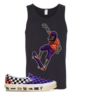 Vans Slip On Venice Beach Pack Tank Top | Black, Skeleton Skateboarder