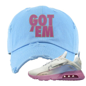 Air Max 2090 Airplane Travel Distressed Dad Hat | Got Em, Light Blue
