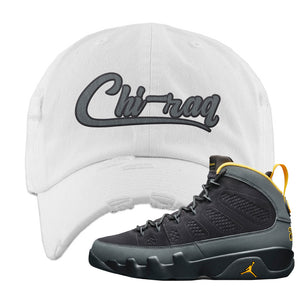 Air Jordan 9 Charcoal University Gold Distressed Dad Hat | Chiraq, White
