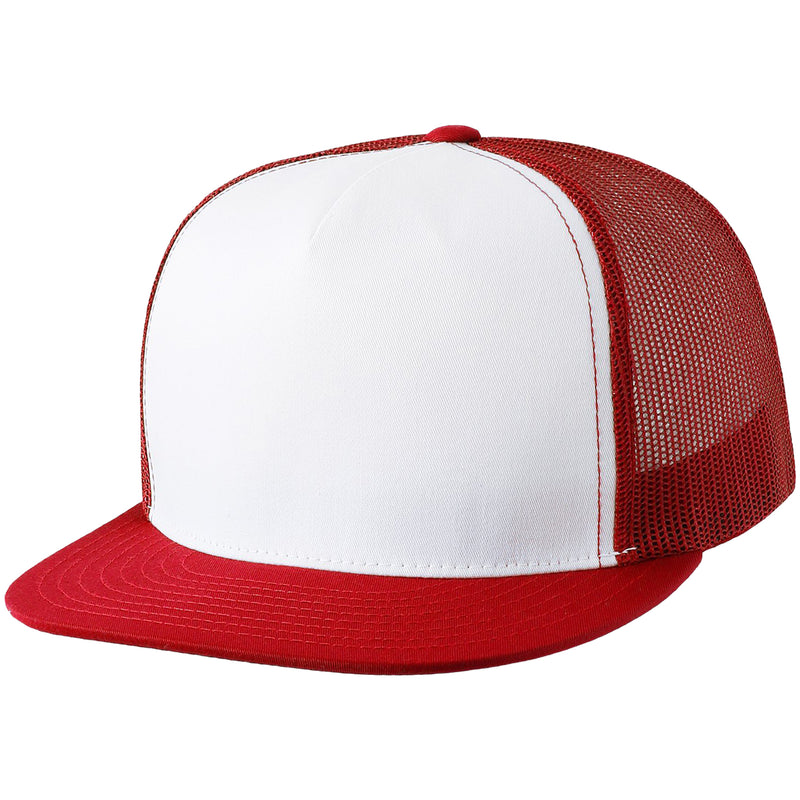 the white on red trucker hat has a white crown and a red brim with red mesh