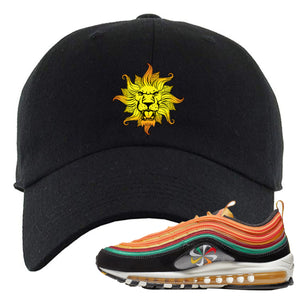Embroidered on the front of the Air Max 97 Sunburst sneaker matching black dad hat is the Vintage Lion Head logo