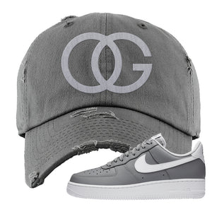 Air Force 1 Low Wolf Grey White Distressed Dad Hat | Dark Gray, OG