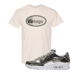 Air Max 90 WMNS 'Medal Pack' Chrome Sneaker Natural T Shirt | Tees to match Nike Air Max 90 WMNS 'Medal Pack' Chrome Shoes | Vintage Oval
