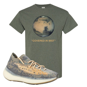 Yeezy Boost 380 Mist Sneaker Heather Military Green T Shirt | Tees to match Adidas Yeezy Boost 380 Mist Shoes | Covered In Mist