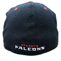On the back of the Atlanta Falcons Stretch Fit hat, the Atlanta Falcons wordmark is embroidered in red and white