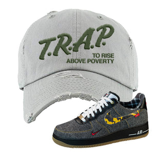 Air Force 1 Low Plaid And Camo Remix Pack Distressed Dad Hat | Trap To Rise Above Poverty, Light Gray