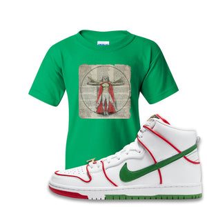 Paul Rodriguez's Nike SB Dunk High Sneaker Green Kid's T-Shirt | Kid's Tee to match Paul Rodriguez's Nike SB Dunk High Shoes | Luchador Davinci