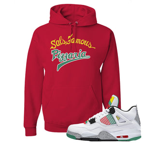 Jordan 4 WMNS Carnival Sneaker True Red Pullover Hoodie | Hoodie to match Do The Right Thing 4s | Sal's Famous Pizzeria