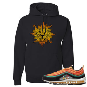 Printed on the front of the Air Max 97 Sunburst black sneaker matching pullover hoodie is the Vintage lion head logo
