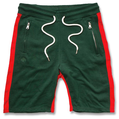 the italian fashion inspired green and red sweat shorts are solid green with red stripe accents running down the sides of the pantleg and the inseam. The waist has white adjustable strings and the pockets have zippers with metallic hardware