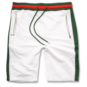 the white italian fashion gucci inspired sweat shorts are white with green and red accents