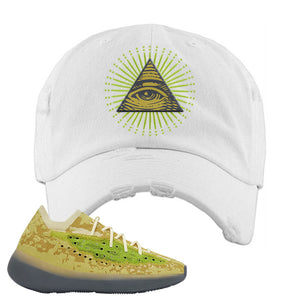 Yeezy Boost 380 Hylte Glow Distressed Dad Hat | All Seeing Eye, White