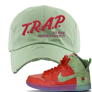 SB Dunk High 'Strawberry Cough' Distressed Dad Hat | Sage Green, Trap To Rise Above Poverty