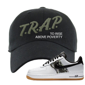 Air Force 1 Low Camo Dad Hat | Trap To Rise Above Poverty, Black