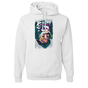 Wentz Mosaic Pullover Hoodie | Carson Wentz Mosaic White Pull Over Hoodie the front of this hoodie has the mosaic wentz design  on it