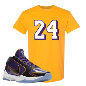 Kobe 5 Protro 5x Champ T Shirt | 24, Gold