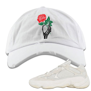 Yeezy Boost 500 Bone White Sneaker Hook Up Skeleton Hand Rose White Distressed Dad Hat