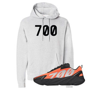 700 Ash Pullover Hoodie to match Yeezy Boost 700 MNVN Orange Sneaker