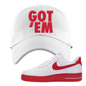Air Force 1 Low Red Bottoms Dad Hat | White, Got Em