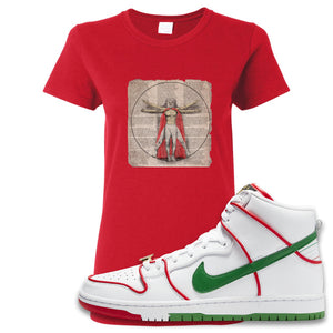Paul Rodriguez's Nike SB Dunk High Sneaker Red Women's T Shirt | Women's Tees to match Paul Rodriguez's Nike SB Dunk High Shoes | Luchador Davinci