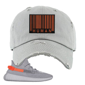 Yeezy Boost 350 V2 Tail Light Sneaker Light Gray Distressed Dad Hat | Hat to match Adidas Yeezy Boost 350 V2 Tail Light Shoes | Legit Barcode