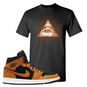 Air Jordan 1 Mid Wheat T Shirt | All Seeing Eye, Black