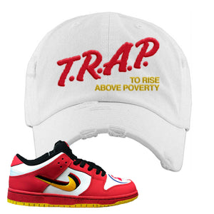Nike Dunk Low Vietnam 25th Anniversary Distressed Dad Hat | Trap To Rise Above Poverty, White