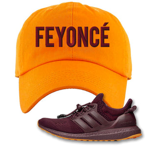 Feyonce Orange Dad Hat to match Ivy Park X Adidas Ultra Boost Sneaker