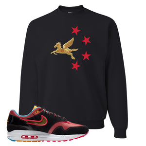 Air Max 1 NYC Chinatown Pegasus With Chinese Stars Black Crewneck Sweatshirt To Match Sneakers