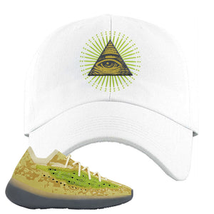 Yeezy Boost 380 Hylte Glow Dad Hat | All Seeing Eye, White