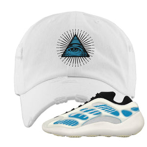 Yeezy 700 V3 Kyanite Distressed Dad Hat | All Seeing Eye, White