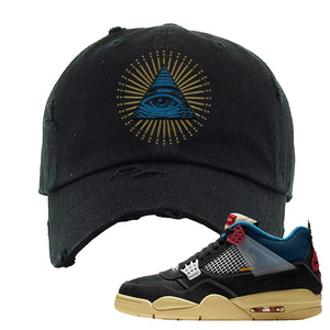 Union LA x Air Jordan 4 Off Noir Distressed Dad Hat | All Seeing Eye, Black