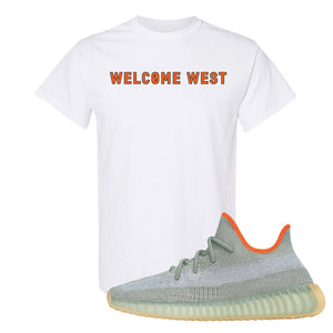 Yeezy 350 V2 Desert Sage T Shirt | White, Welcome West