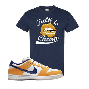 SB Dunk Low Laser Orange T Shirt | Navy, Talk is Cheap