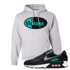 Air Max 90 Black New Green Hoodie | Vintage Oval, Ash