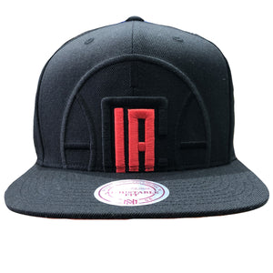 Embroidered on the front of the Los Angeles Clippers XL Logo snapback hat is the Los Angeles Clippers logo embroidered in black and red