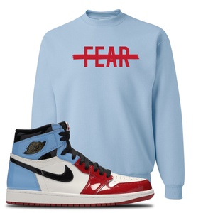 Air Jordan 1 Fearless Fear Crossed Out Light Blue Made to Match Crewneck Sweatshirt