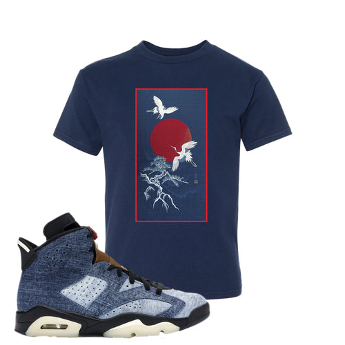 Air Jordan 6 Washed Denim Crane Sun Navy Blue Sneaker Hook Up Kid's T-Shirt
