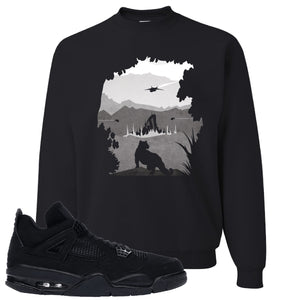 Air Jordan 4 Black Cat Panther Island Black Made to Match Crewneck Sweatshirt