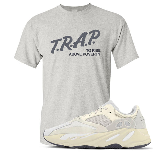 Yeezy Boost 700 Analog Sneaker Match Trap Rise Above Heathered Light Gray T-Shirt
