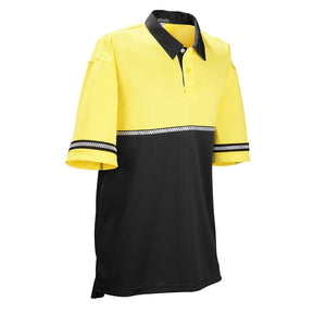 the Police Public Safety | 2-Tone Reflective Stripe Security Guard Uniform Shirt | Safety Green and Black External Vest Carrier Polo Shirt has a reflective taxi stripe and a black collar on a yellow and black polo shirt