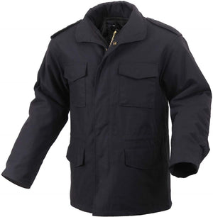 the Police Public Safety | Heavy Duty Winter Coat with Stow-Away Hood | Black U.S. Army Standard Ultra-Force Field Coat with Detachable Quilted Lining has a high collar and utility pockets