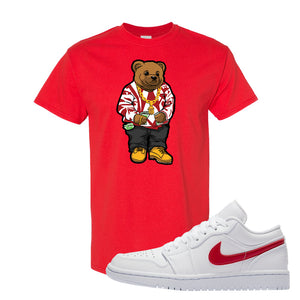 Air Jordan 1 Low White and Varsity Red T Shirt | Sweater Bear, Red
