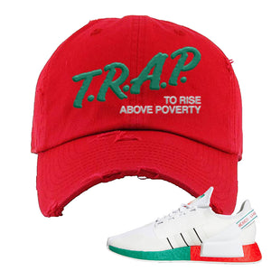 NMD R1 V2 Ciudad De Mexico Distressed Dad Hat | White, Trap To Rise Above Poverty
