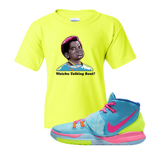 Kyrie 6 Pool Kids T-Shirt | Watchu Talking Bout, Safety Green